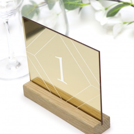 Gold Geometric Table Number - Acrylic with Timber Base