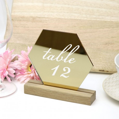Gold Hexagon Table Number - Acrylic with Timber Base