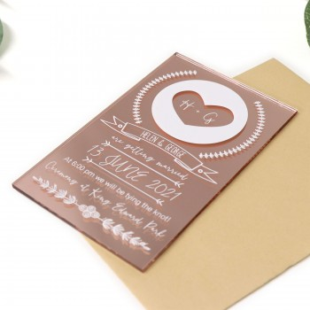 11B Printed Rose Gold Acrylic Wedding Invitation with Magnets