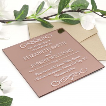 Large Square Rose Gold Printed Acrylic Wedding Invitations
