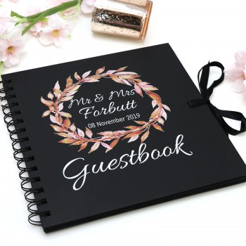 """Wedding Guest Book with Limited Edition Floral Personalised Design 8"""""""