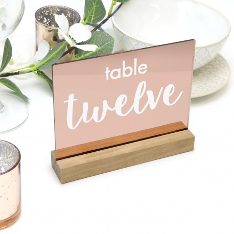 Rose Gold Engraved Table Number Acrylic with Freestanding Base - Any Number