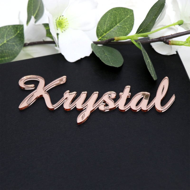 Laser Cut Rose Gold Acrylic Name Placecards. Unique And