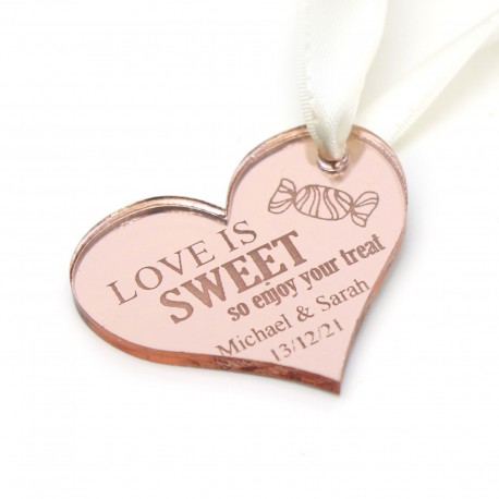 Engraved Heart Rose Gold Acrylic Gift Tag with White Ribbon
