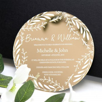 Large Printed Mirror Gold Acrylic Round Wedding Invitations