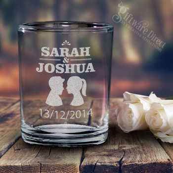 engraved glass votive holders candle wedding favours