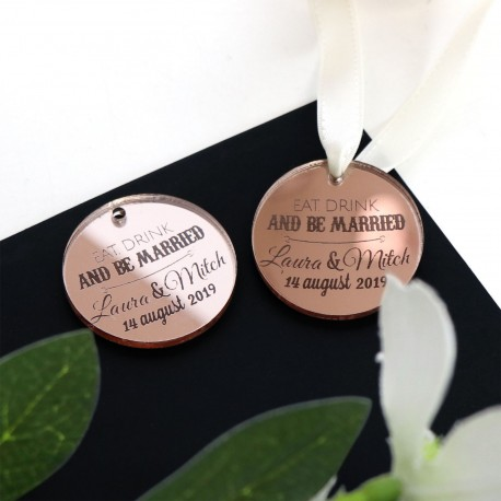 Engraved Round Rose Gold Acrylic Gift Tag with White Ribbon