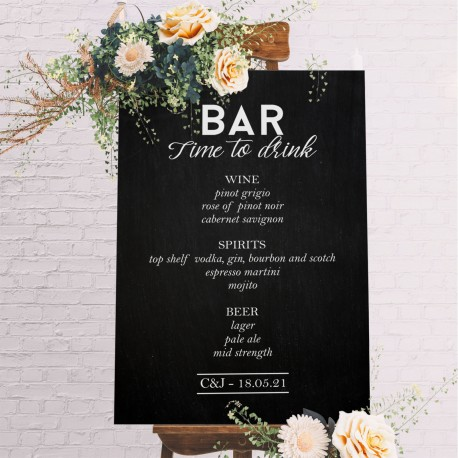 Formal Wedding Bar Menu Sign- 6mm Thick Blackboard Wooden Wedding Sign