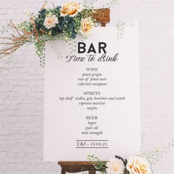 Formal Wedding Bar Menu Sign- 6mm Thick White Wooden Wedding Sign