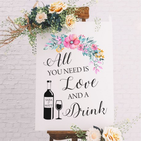 All You Need Is Love Floral Bar Sign- 6mm Thick Wooden White Wedding Sign
