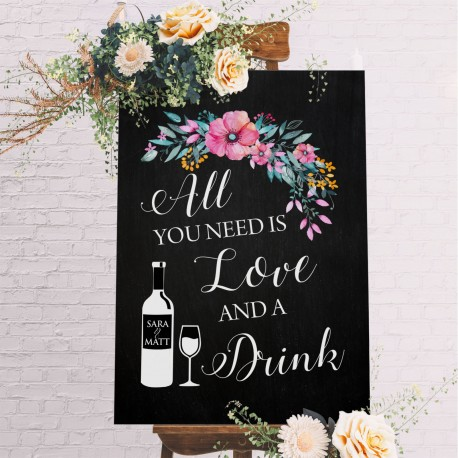 All You Need Is Love Floral Bar Sign- 6mm Thick Wooden Blackboard Wedding Sign
