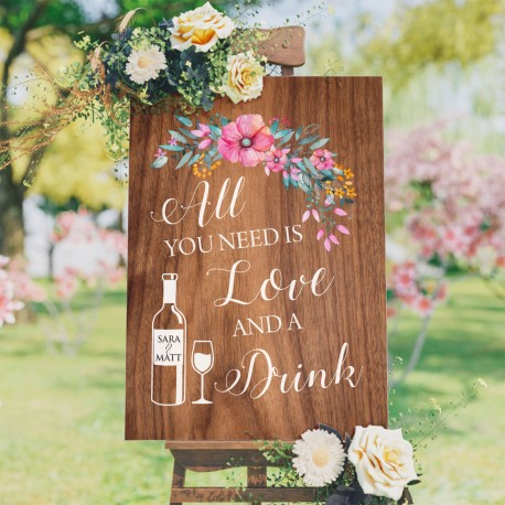 All You Need Is Love Floral Bar Sign- 6mm Thick Wooden Wedding Sign