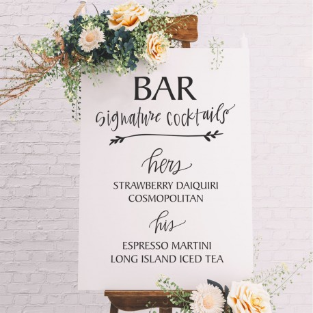 Signature Cocktail List Wedding Bar Sign - 6mm Thick Wooden White Sign