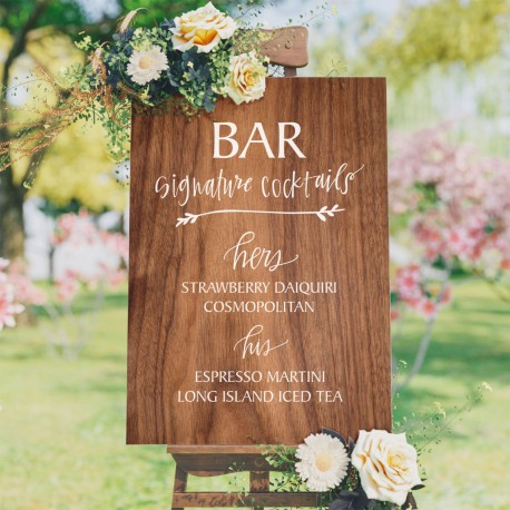 Signature Cocktail List Wedding Bar Sign - 6mm Thick Wooden Sign