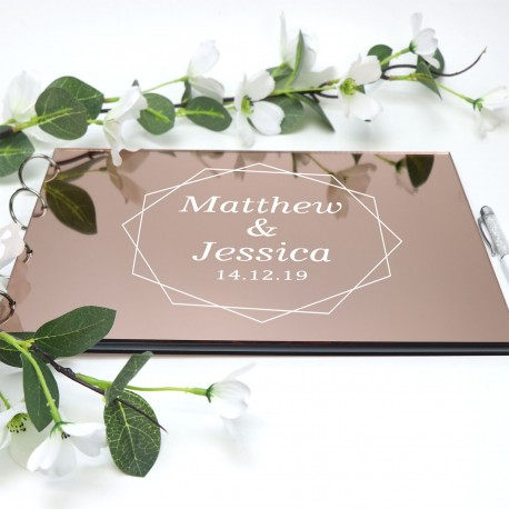 Printed Rose Gold Mirror Acrylic A4 Wedding Guest Book