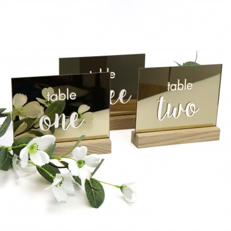 Mirror Gold Printed Table Number with Timber Base - Any Number