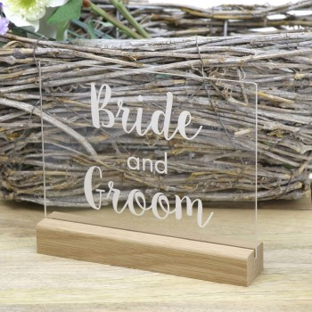 Clear Bride & Groom Bridal Table Sign - Acrylic with Timber Base
