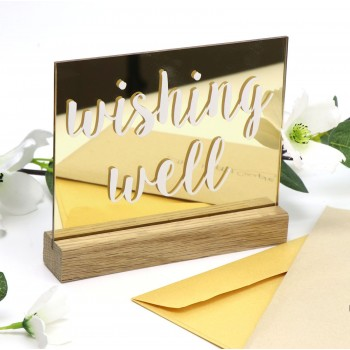Mirror Gold Acrylic Wishing Well Sign with Tasmanian Oak Base