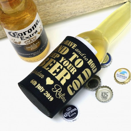 Deluxe Stubby Holder With Metallic Print Freestanding Beer Cooler