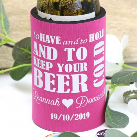 Pink Personalised Stubby Holder with 20 Design Options
