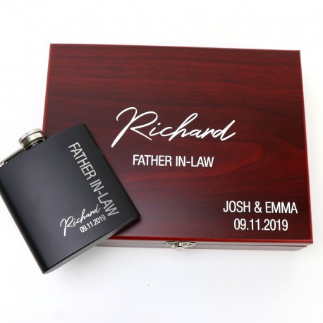 Engraved Flask Set with Printed Timber Box - Limited Edition Design!