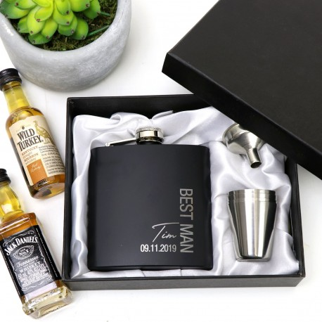 Engraved Black Stainless Steel Hip Flask with Limited Edition Design