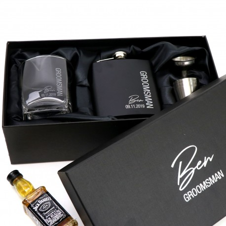 Ultimate Black Groomsman Flask Set with Matching Whiskey Glass - Limited Time Design
