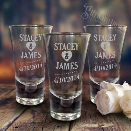 Wedding Shot Glasses.Engraved Deluxe Tall 60ml Shot Glasses