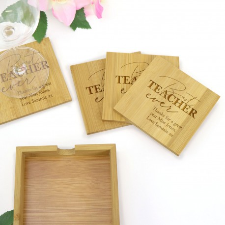 Personalised Engraved Square Bamboo Teachers Gift Coaster Gift Set of 4