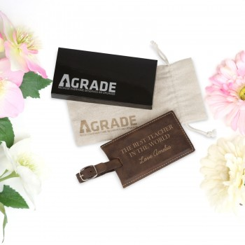 Engraved Teachers Luggage Tag End of Year Gift Brown