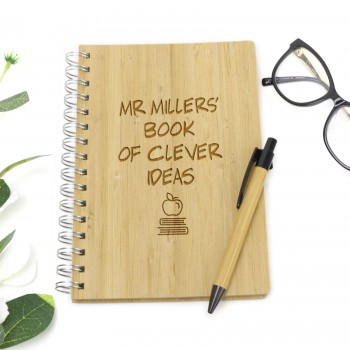 Engraved Timber Teachers Lined Notebook Hard Cover with Pen