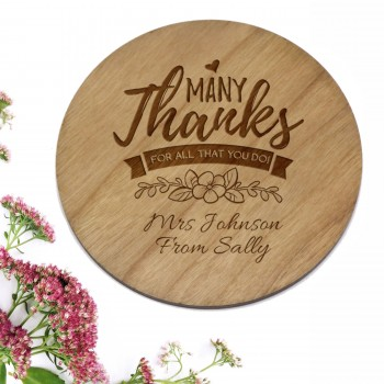 Cherry Timber Round Engraved Coaster Teachers Gift