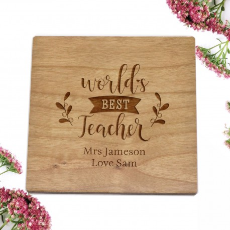 Cherry Timber Square Laser Engraved Coaster Teachers Gift