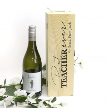 Personalised Teachers Wooden Wine Box - End of Term Gift