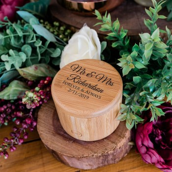 personalsied bamboo wedding ring box