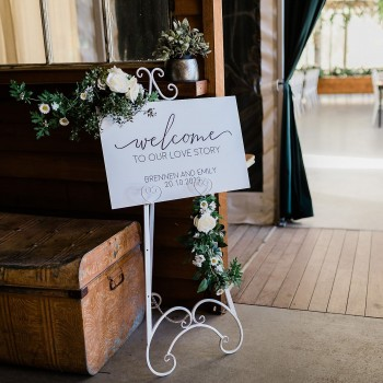 Welcome Sign - Personalised Wedding Decor - White with Black Printed Design