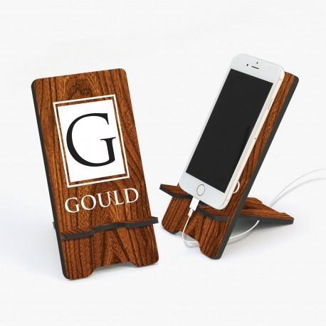 custom made phone stand with full colour glossy print timber look
