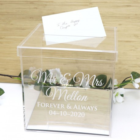 Personalised Clear Acrylic Engraved Wedding Wishing Well with Silver Base