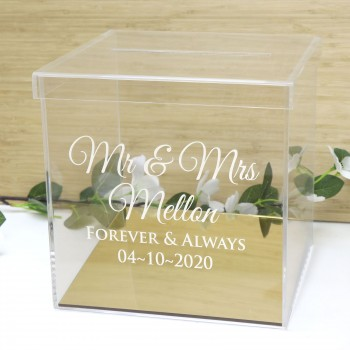 Clear Acrylic Engraved Wedding Wishing Well with Mirror Gold Base