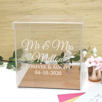 Engraved Acrylic Clear Wedding Wishing Well with Rose Gold Base