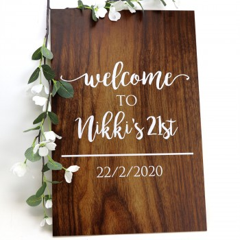Personalised Birthday Welcome Wooden Sign - 6mm Thick Sturdy Sign