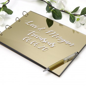 Printed Mirror Gold Acrylic A4 Personalised Wedding Guest Book
