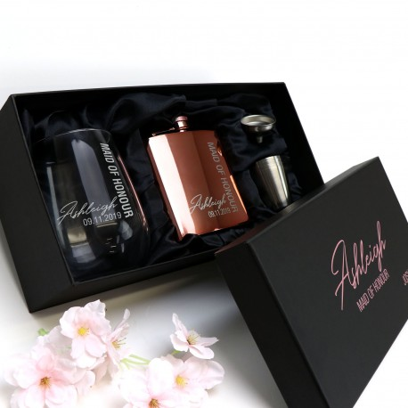 Ultimate Rose Gold Bridesmaid Flask Set with Matching Stemless Wine Glass - Limited Time Design