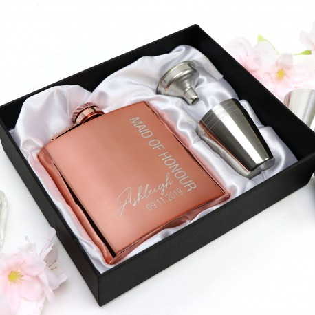 Engraved Rose Gold Stainless Steel Hip Flask in Gift box