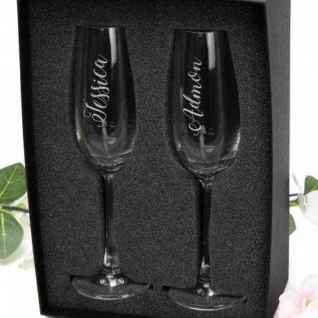 Engraved Champagne Glass with Stylish Calligraphy Name Design