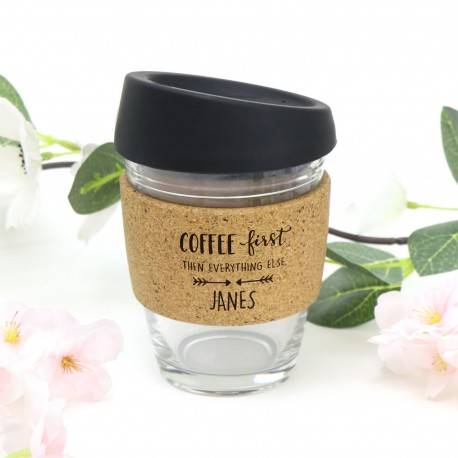 Engraved Reusable Glass Coffee Keep Cup with Cork Heat Protectant Band Mothers Day Gift
