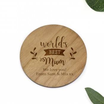 Engraved Round Wooden Mother's Day Coaster