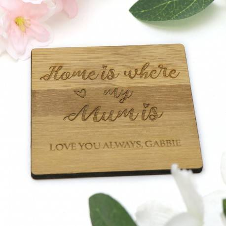 Engraved Square Personalised Wooden Mother's Day Coaster