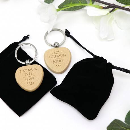 xEngraved Timber Heart Keyring Mothers Day Gift