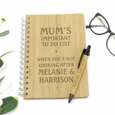 Engraved Timber Lined Notebook Hard Cover with Pen Mothers Day Gift